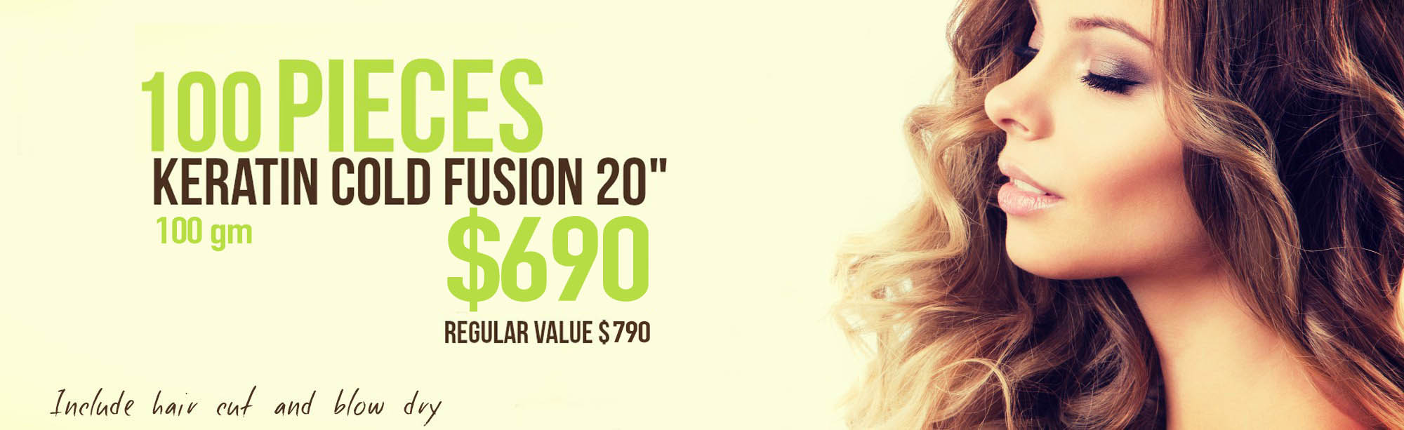 "100 pieces keratin cold fusion 20"",Include hair cut and blow dry, free kit argan oil, gift with this service"