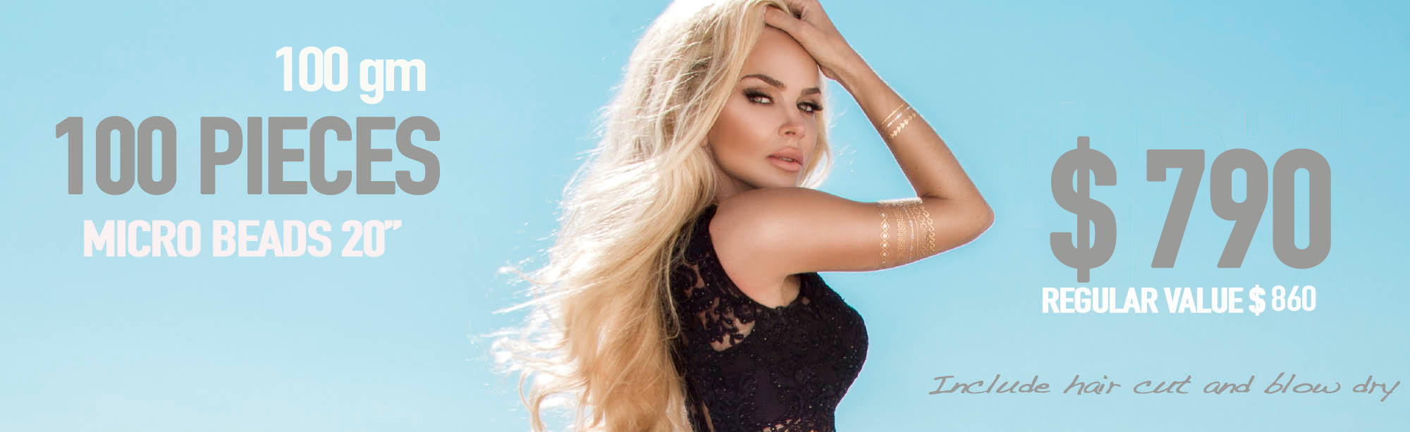 Miami Hair Extensions Salon with100 pieces micro beads, Include hair cut and blow dry, kit argan oil