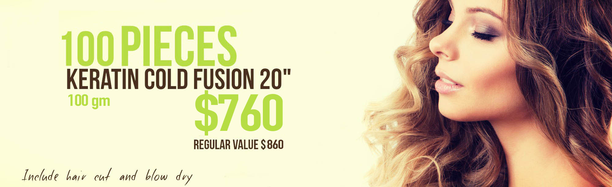 "Miami Hair Extensions Salon ,100 pieces keratin cold fusion 20"",Include hair cut  blow dry, kit argan oil"
